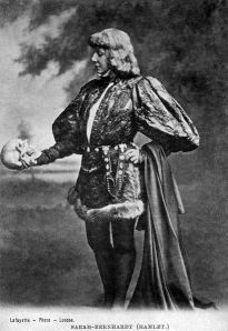 Sarah Bernhardt as Hamlet with Yorick's skull